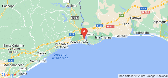 map of Vila Real de Santo António, Portugal