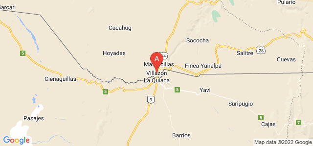 map of Villazón, Bolivia