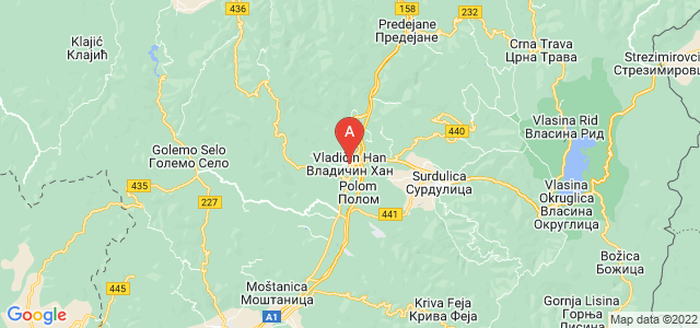 map of Vladičin Han, Serbia