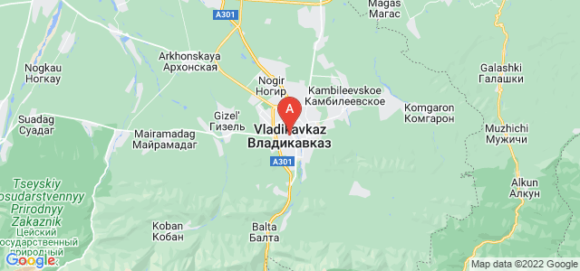 map of Vladikavkaz, Russia