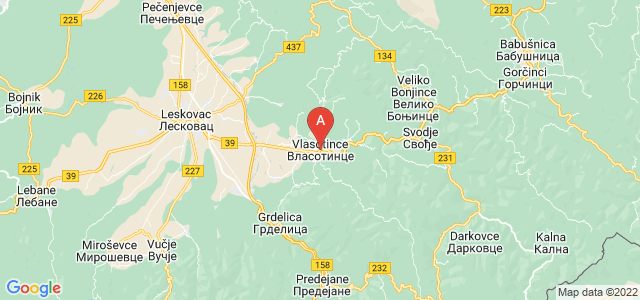 map of Vlasotince, Serbia