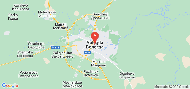 map of Vologda, Russia