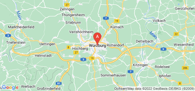 map of Würzburg, Germany