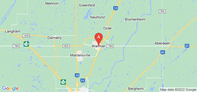map of Warman, Canada