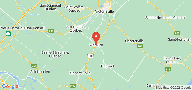 map of Warwick, Canada