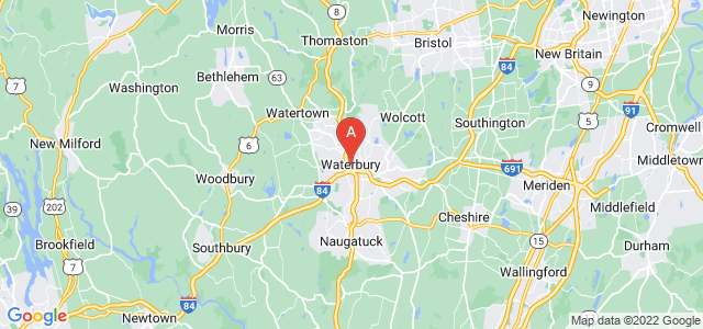 map of Waterbury, United States of America