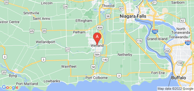 map of Welland, Canada