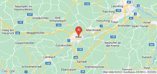 map of Wels, Austria