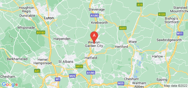 map of Welwyn Garden City, United Kingdom
