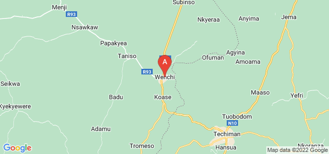 map of Wenchi, Ghana