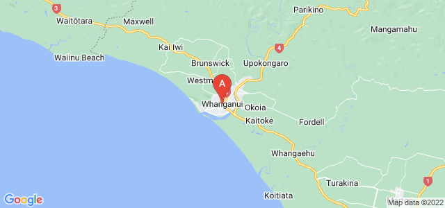 map of Whanganui, New Zealand