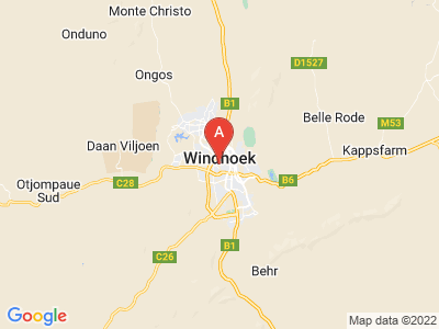 map of Windhoek, Namibia