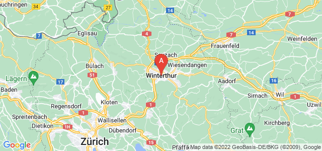 map of Winterthur, Switzerland