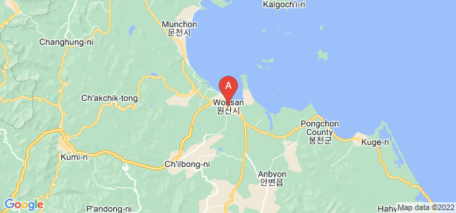 map of Wonsan, North Korea