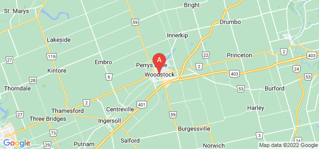 map of Woodstock, Canada