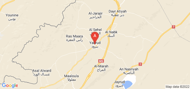 map of Yabrud, Syria