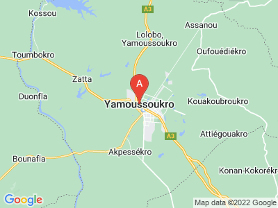 map of Yamoussoukro, Ivory Coast