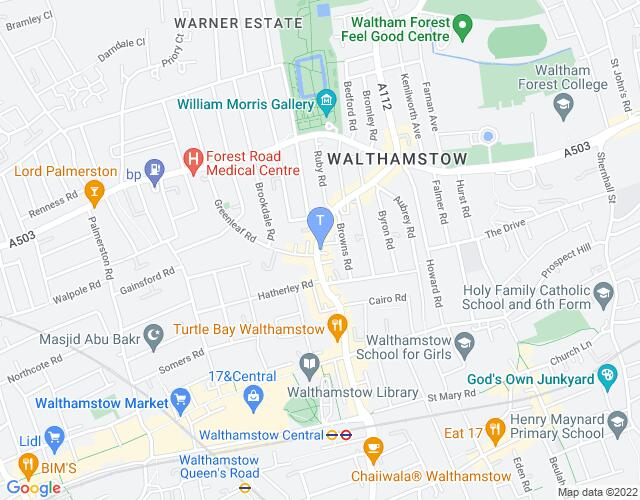 Location map for Ye Old Rose and Crown