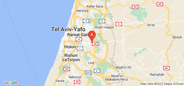 map of Yehud-Monosson, Israel