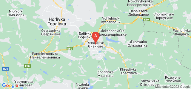 map of Yenakiieve, Ukraine