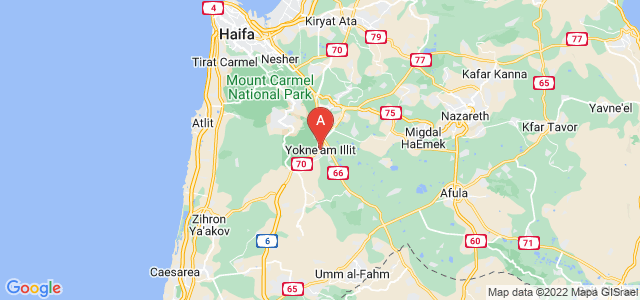 map of Yokneam, Israel