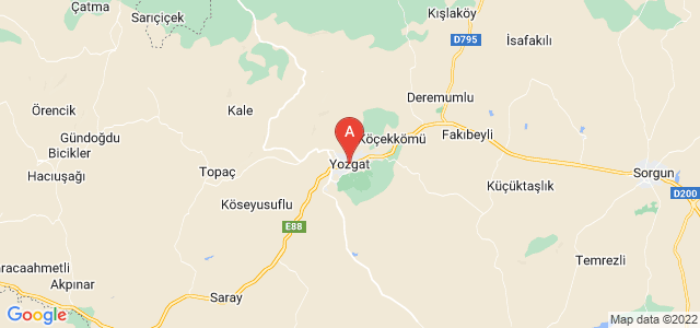map of Yozgat, Turkey