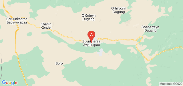 map of Züünkharaa, Mongolia