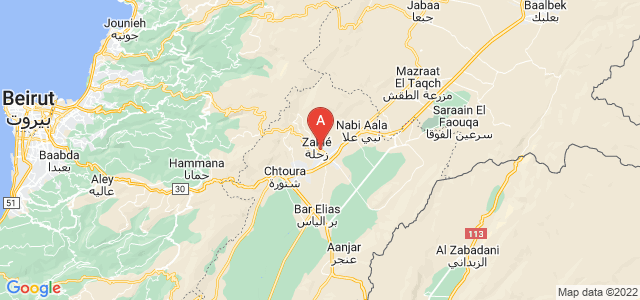map of Zahle, Lebanon