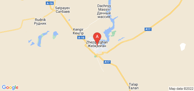 map of Zhezkazgan, Kazakhstan