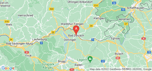map of Zurzach, Switzerland
