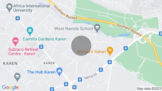 Near hub mall.Karen blixen , giraffe centre, sheldrick,  Nairobi national park, Map