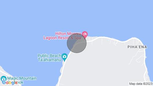 FARE MAHEATA Vai Hau bungalow 4 guest, private kitchen bathroom beach access Map