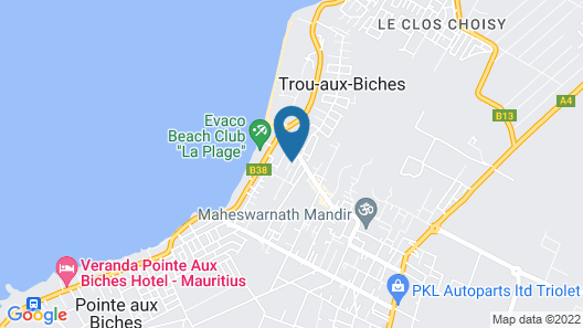 House With 2 Bedrooms in Trou aux Biches, With Wonderful sea View, Furnished Garden and Wifi Map
