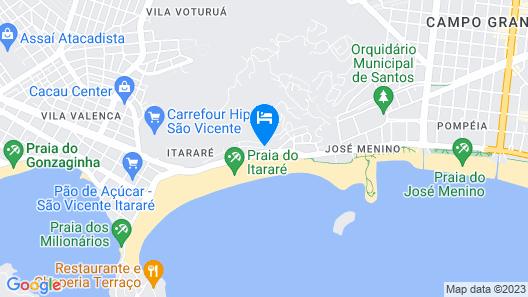 Apartamento no Flat Itararé Tower Beach - Vista ao Mar Map