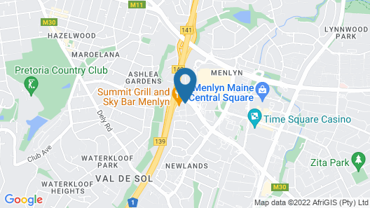 Protea Hotel Fire & Ice by Marriott Pretoria Menlyn Map