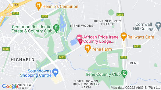 African Pride Irene Country Lodge, Autograph Collection Map