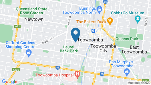 Potters Toowoomba Boutique Hotel Map