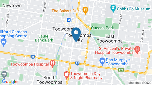 Oaks Toowoomba Hotel Map