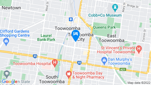 Toowoomba Central Plaza Apartment Hotel Map