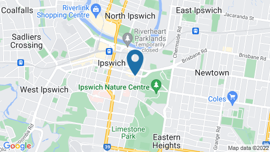 Central Motel Ipswich Map