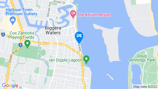 Silvershore Apartments on the Broadwater Map