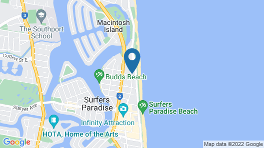 Down Under Hostels by the beach Map