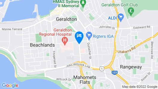 Sails Geraldton Accommodation Map
