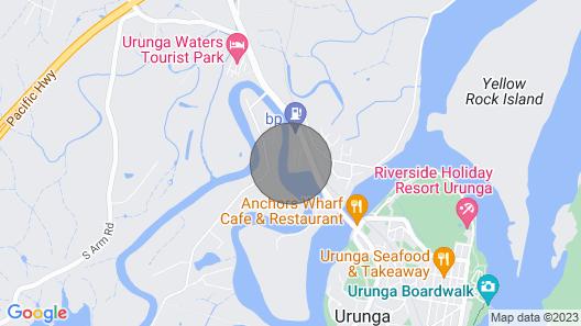 Waterfront on the Kalang River, Urunga, NSW Map