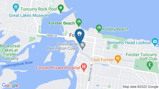 Lakes and Ocean Hotel Forster Map