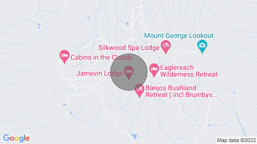 Romantic log Cabin or Family Cabin. 2 Bedroom. Spa & spa Bath. Great Views Map