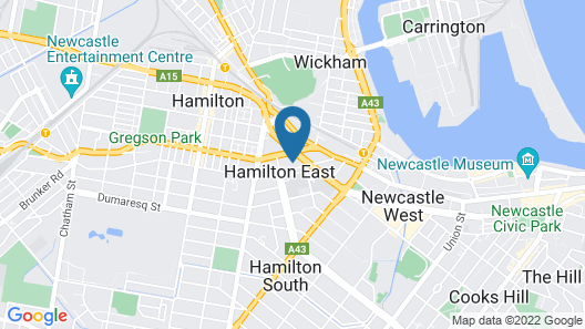 Backpackers Newcastle Map