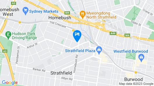 Darcys Hotel at Homebush Map