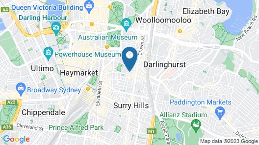 Cambridge Hotel Sydney Map