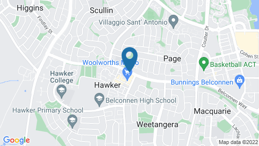 Belconnen Way Hotel Motel and Serviced Apartments Map